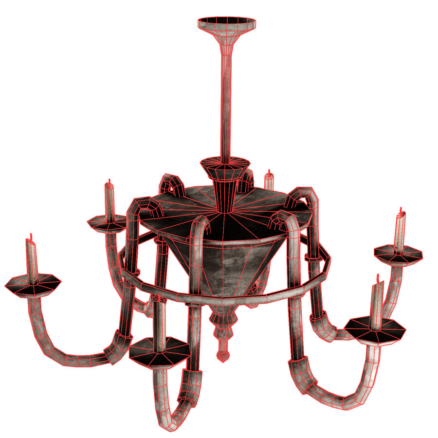 Chandelier - Victorian style royalty-free 3d model - Preview no. 4