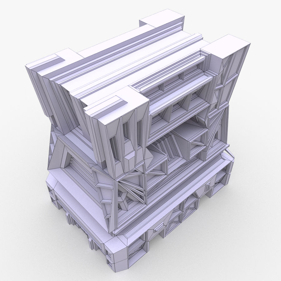 Sci-fi building royalty-free 3d model - Preview no. 10