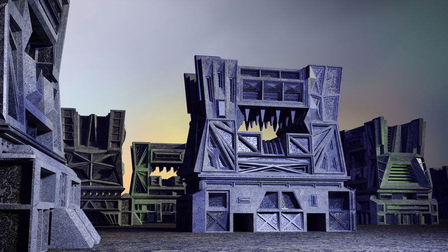 Sci-fi building royalty-free 3d model - Preview no. 11