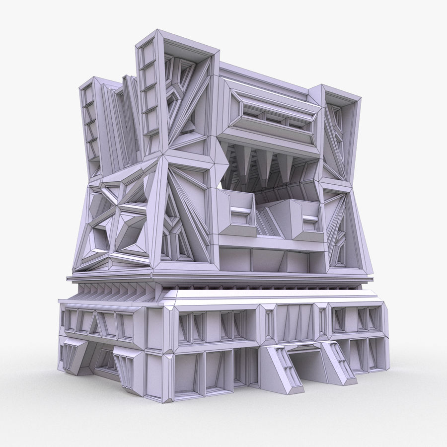 Sci-fi building royalty-free 3d model - Preview no. 8