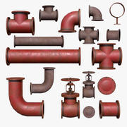 Industrial Pipes Low Poly 3d model