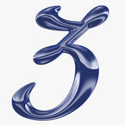 Kalligrafisk siffra 3 nummer 3 3d model
