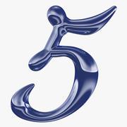 Kalligrafisk siffra 5 Nummer 5 3d model
