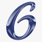 Kalligrafisk siffra 6 nummer 6 3d model