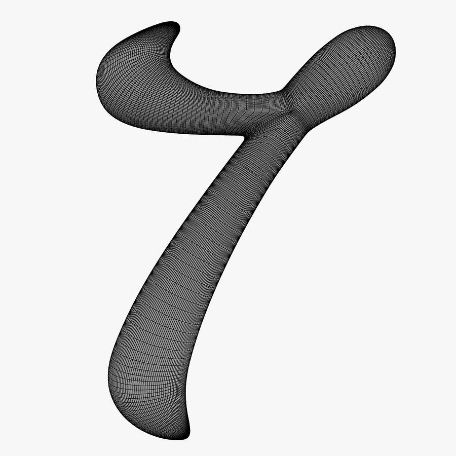 Kalligrafisk siffra 7 nummer 7 royalty-free 3d model - Preview no. 13