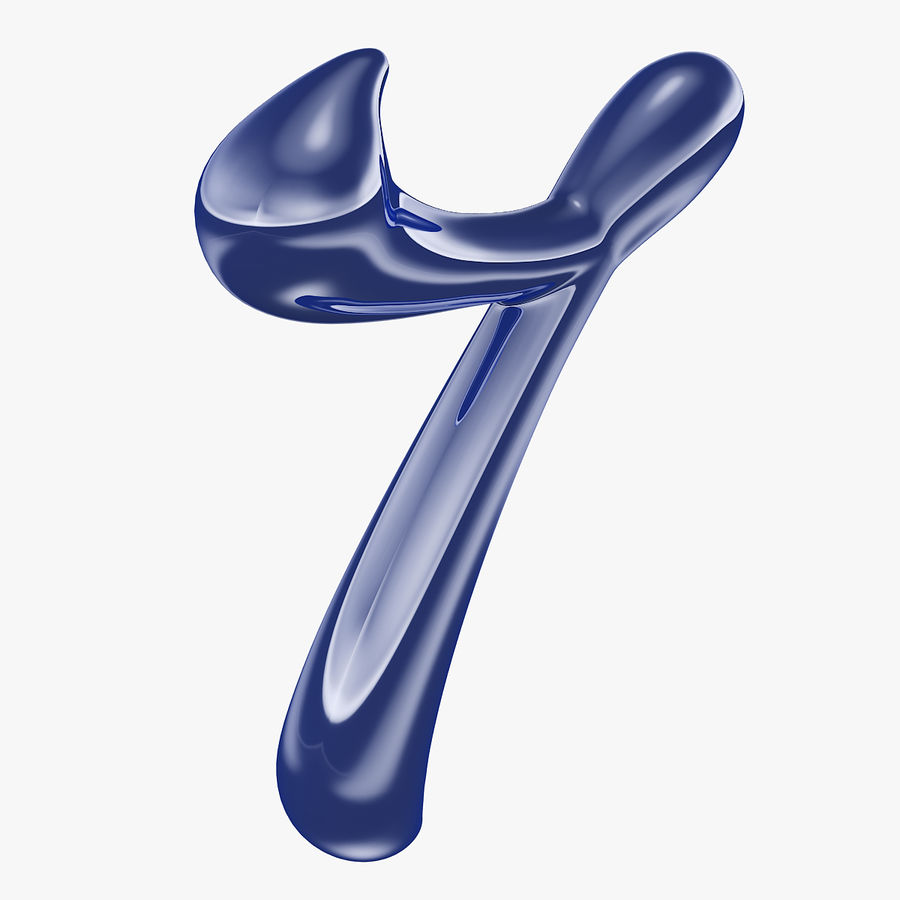 Kalligrafisk siffra 7 nummer 7 royalty-free 3d model - Preview no. 2