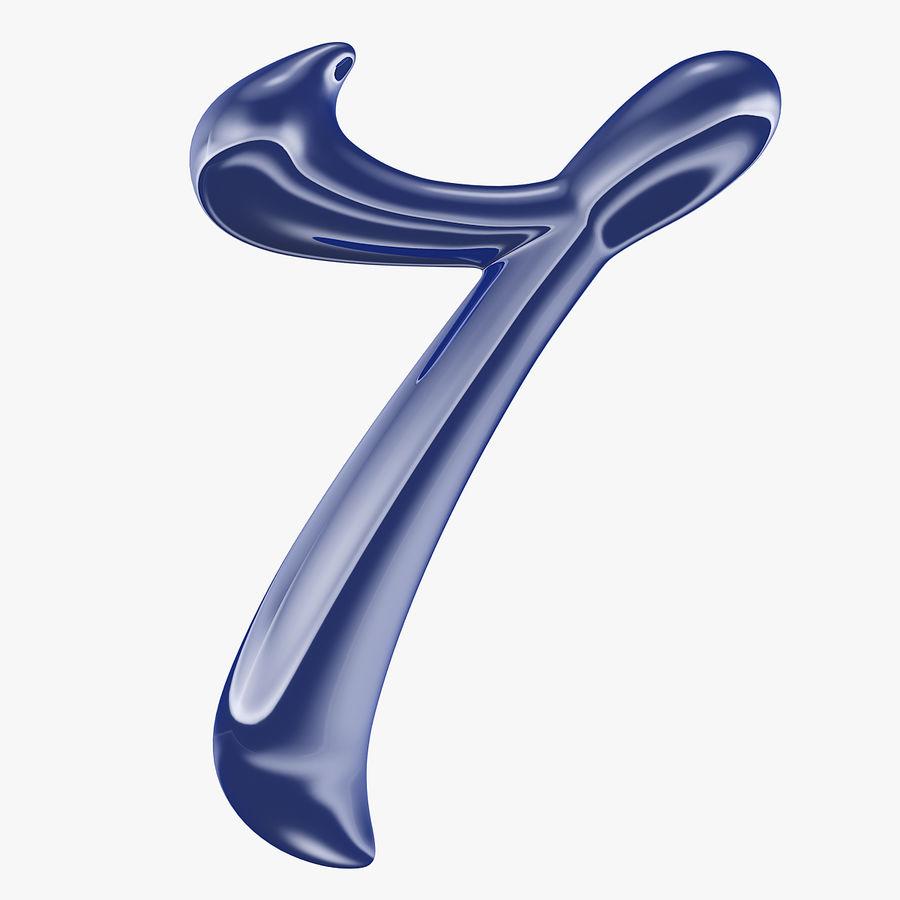 Kalligrafisk siffra 7 nummer 7 royalty-free 3d model - Preview no. 1