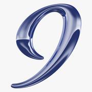 Kalligrafisk siffra 9 nummer 9 3d model