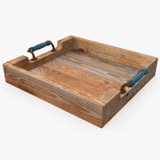 Wooden Tray With Beautiful Handles 3d model