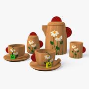 Wooden Tea Set 3d model