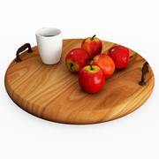 Tray With Apples And Coffee Cup 3d model