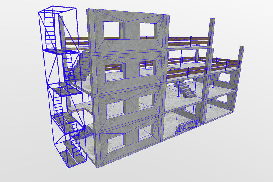 建筑施工元素3d模型 royalty-free 3d model - Preview no. 2
