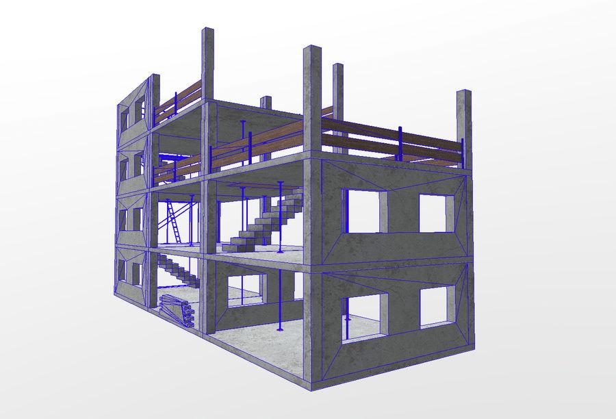 建筑施工元素3d模型 royalty-free 3d model - Preview no. 4