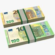 Euro-Banknoten-Rechnungs-Stapel 3d model