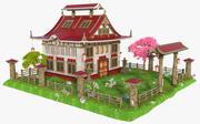 Fantasie-asiatisches Gebäude 3d model