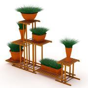 植木鉢と木材スタンド 3d model