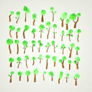 Cartoon Baum Wald Pack 3d model