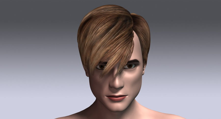 Hairstyle 21 royalty-free 3d model - Preview no. 5