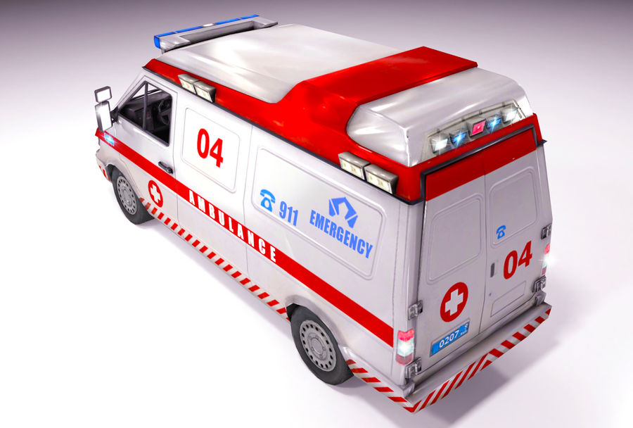 Emergency Ambulance 911 with Interior royalty-free 3d model - Preview no. 7