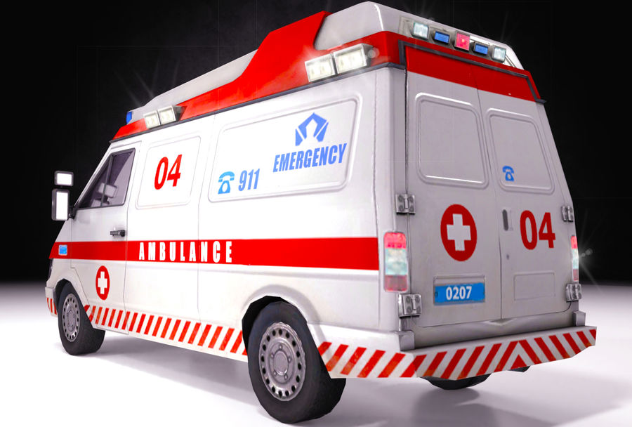 Emergency Ambulance 911 with Interior royalty-free 3d model - Preview no. 2