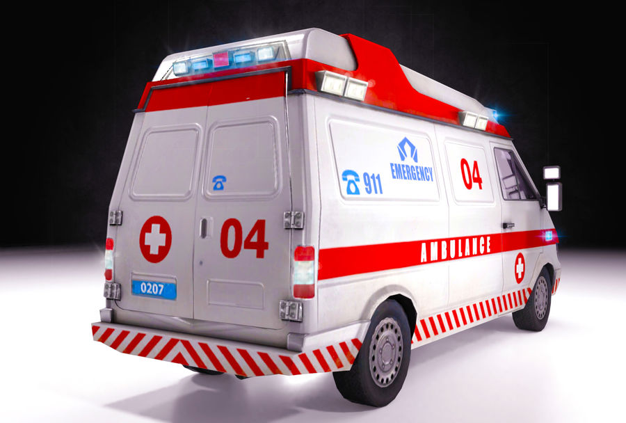 Emergency Ambulance 911 with Interior royalty-free 3d model - Preview no. 5