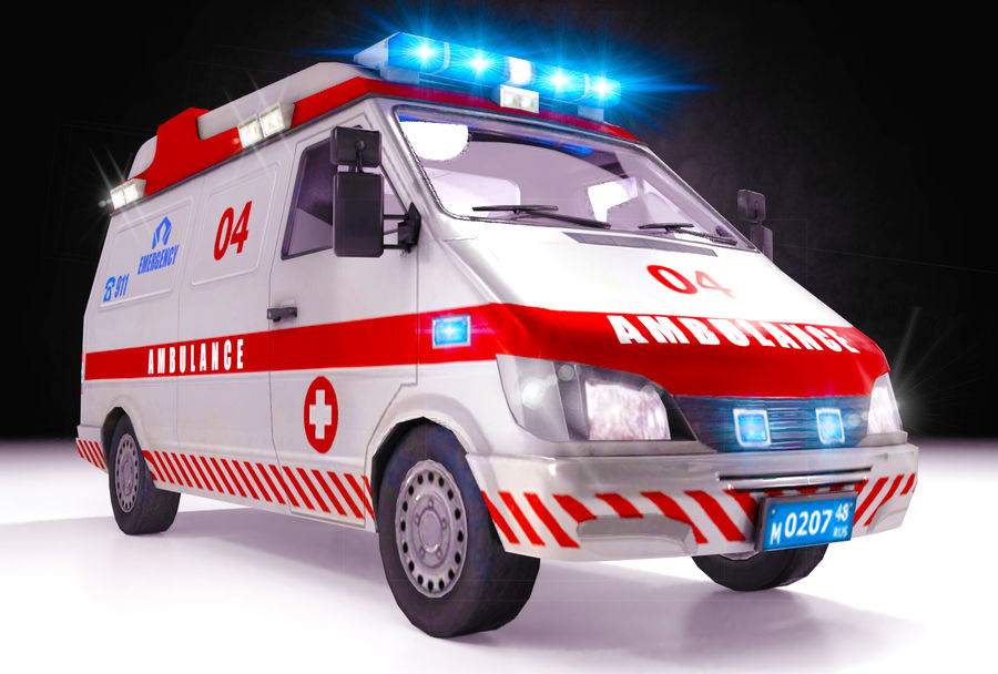 Emergency Ambulance 911 with Interior royalty-free 3d model - Preview no. 1