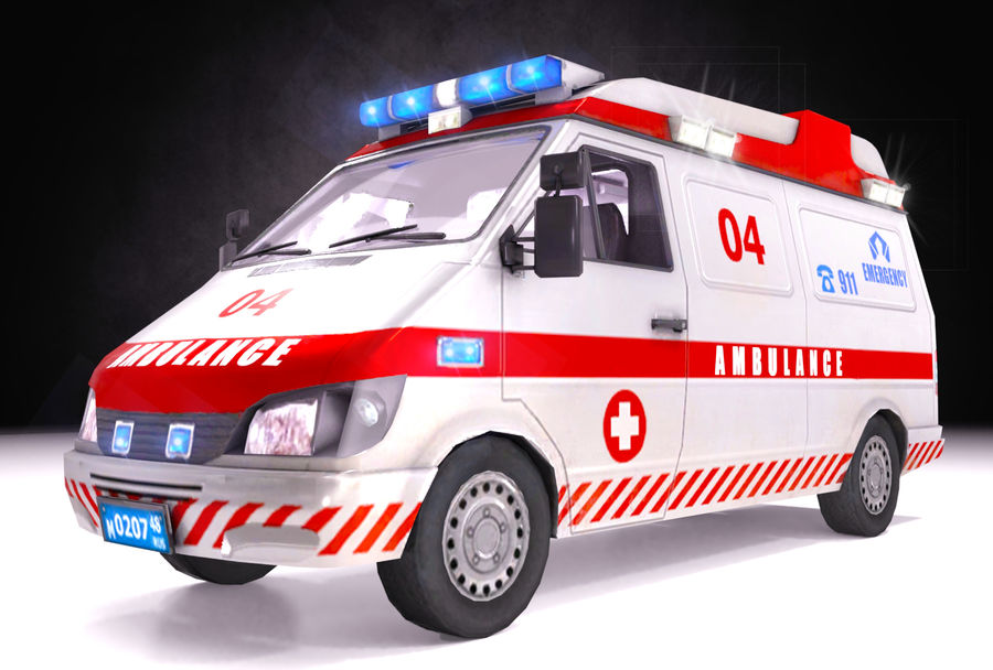 Emergency Ambulance 911 with Interior royalty-free 3d model - Preview no. 6