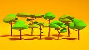 卡通树包低聚 3d model
