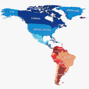 North And South America Continent 3d model