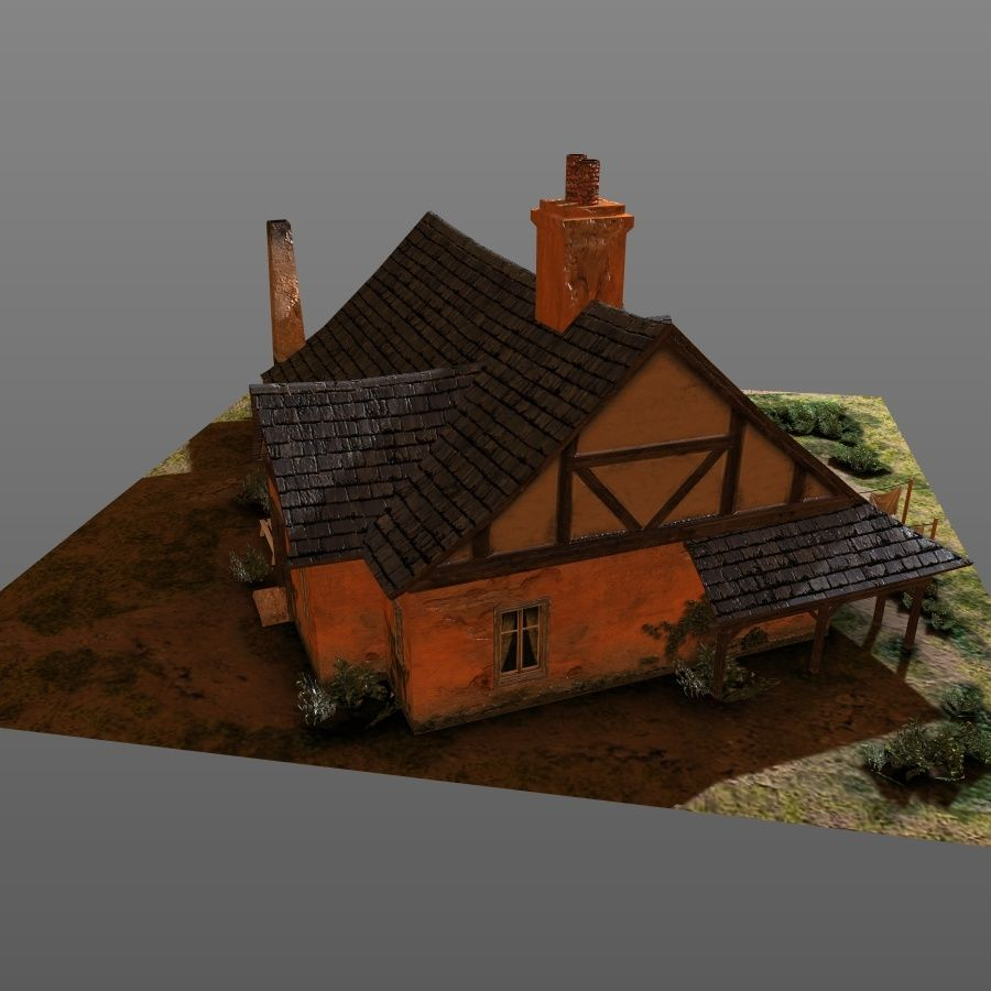 House cottage royalty-free 3d model - Preview no. 2