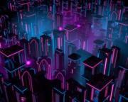 Neon Buildings 3d model