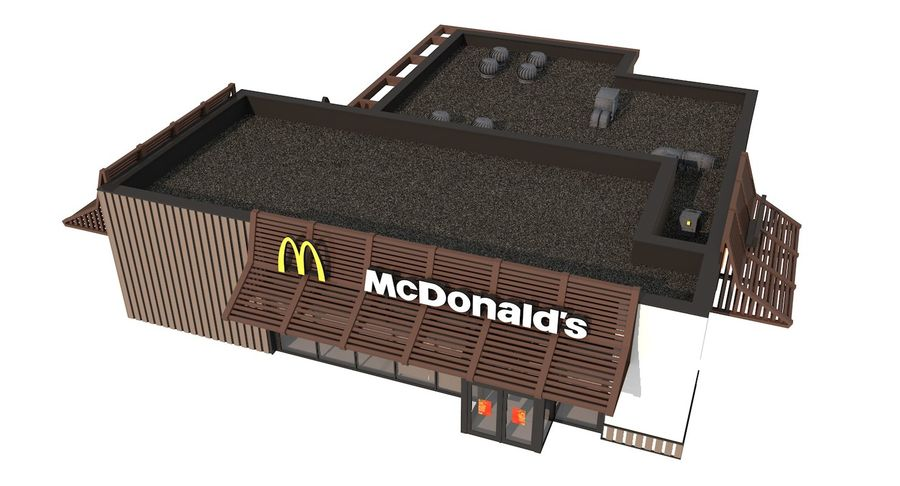 McDonalds McCafe Restaurant royalty-free 3d model - Preview no. 8