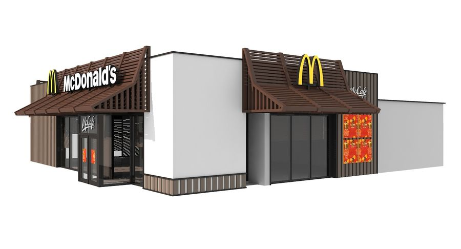 McDonalds McCafe Restaurant royalty-free 3d model - Preview no. 3