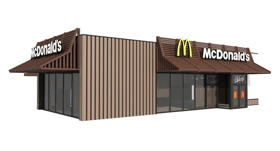 McDonalds McCafe Restaurant royalty-free 3d model - Preview no. 2