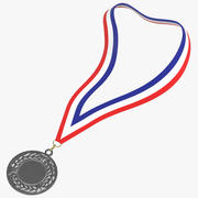 Olympic Style Medal 01 Silver Laying 3d model