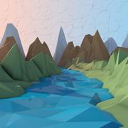 낮은 폴리 만화 강 환경 3d model