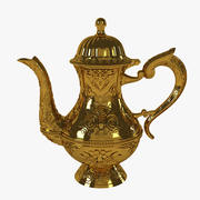 Gold Handed-Pot Carved with Floral Pattern 3d model
