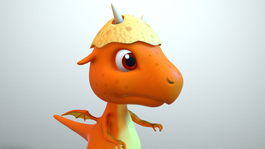 dessin animé bébé dragon royalty-free 3d model - Preview no. 4