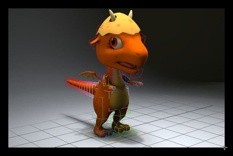 dessin animé bébé dragon royalty-free 3d model - Preview no. 8