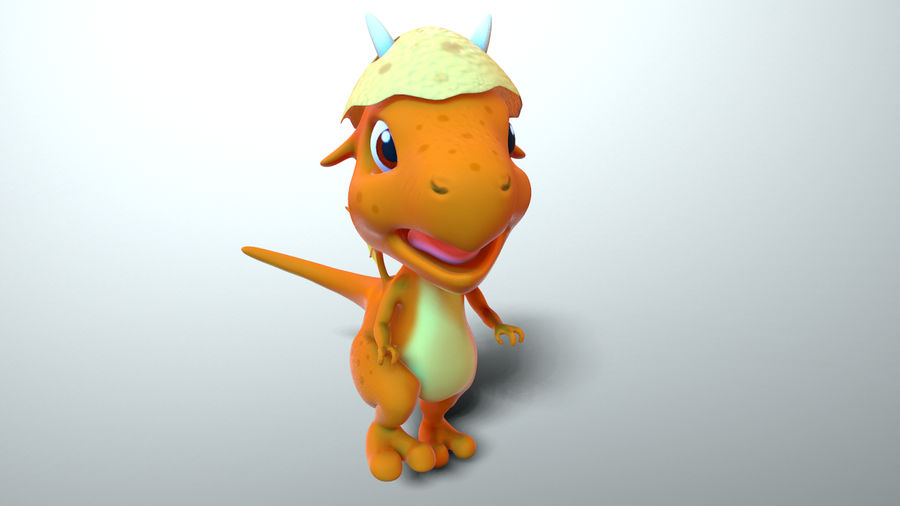dessin animé bébé dragon royalty-free 3d model - Preview no. 6