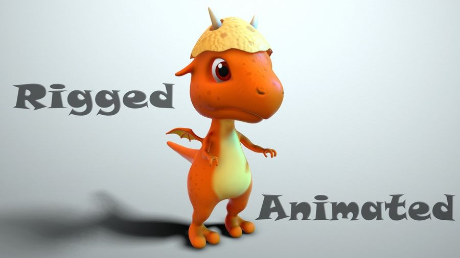 dessin animé bébé dragon royalty-free 3d model - Preview no. 1