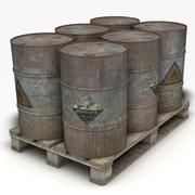 Steel Barrels With Pallet 3d model