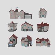 Zestaw budynków, zestaw domów (3 domy, 1 rynek, 1 remiza strażacka, 1 kawiarnia, 1 biblioteka, 1 ratusz) 3d model