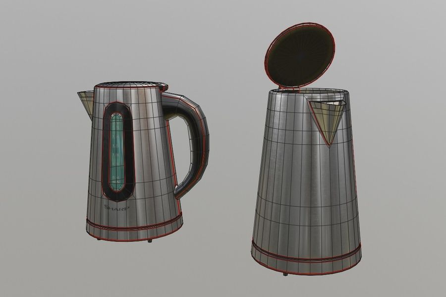 electric kettle kitchen appliance royalty-free 3d model - Preview no. 8