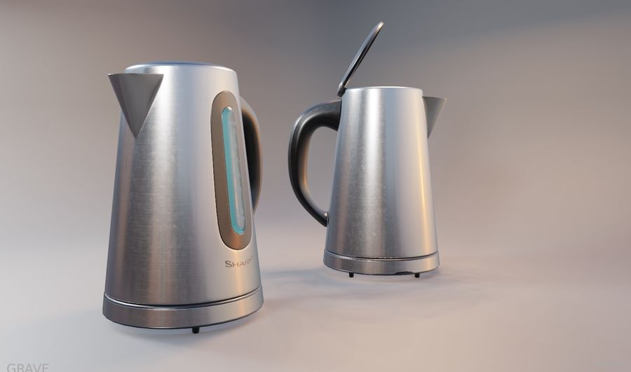 electric kettle kitchen appliance royalty-free 3d model - Preview no. 1