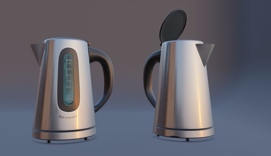 electric kettle kitchen appliance royalty-free 3d model - Preview no. 9