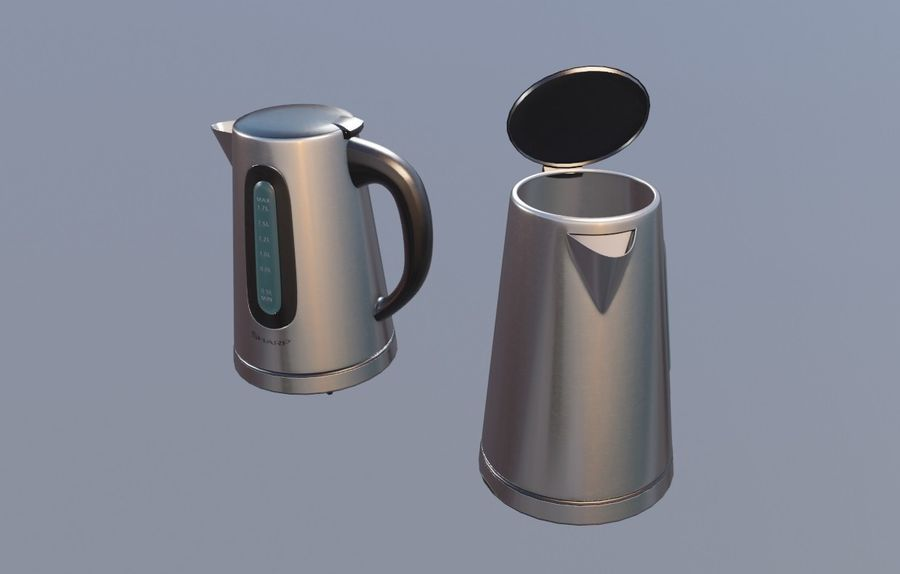 electric kettle kitchen appliance royalty-free 3d model - Preview no. 2