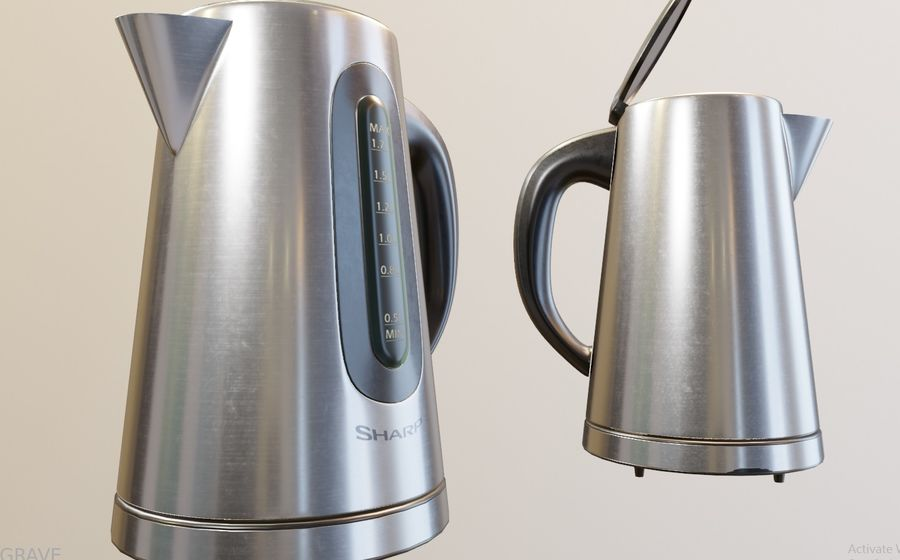 electric kettle kitchen appliance royalty-free 3d model - Preview no. 4