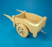 Chariot en bois 3d model