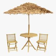 Palapa set Bamboo Tiki Huts & Furniture 3d model